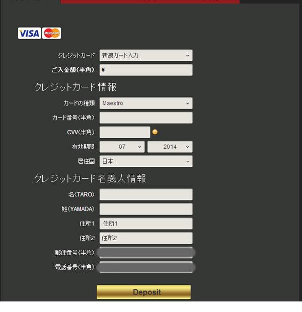 NRGバイナリーの入金画面詳細
