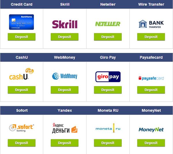 CTオプションの入金方法選択画面